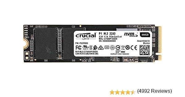 Crucial P1 500GB CT500P1SSD8 Unidad interna de estado sólido-hasta 1900 MB/s (3D NAND, NVMe, PCIe, M.2)