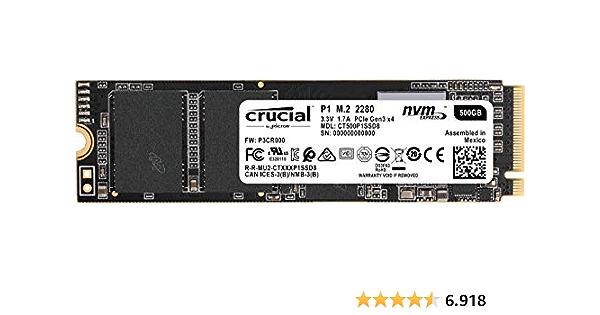 Crucial CT500P1SSD8 - Unidad interna de estado sólido-hasta 1900 MB/s, P1 500GB (3D NAND, NVMe, PCIe, M.2)