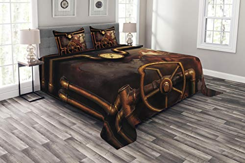 (Ambesonne Industrial Bedspread Set King Size, Steam Pipes and Pressure Gauger Vintage Style Damaged Timeworn Engine, Decorative Quilted 3 Piece Coverlet Set with 2 Pillow Shams, Orange Bronze)
