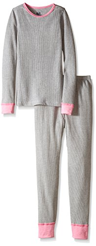 Fruit of the Loom Big Girls' Waffle Thermal Underwear Set, Light Grey Heather, 14/16