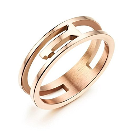 (Bishilin Stainless Steel Key Heart Rose Gold Plated Ring Wedding Bands for Women Size 8)