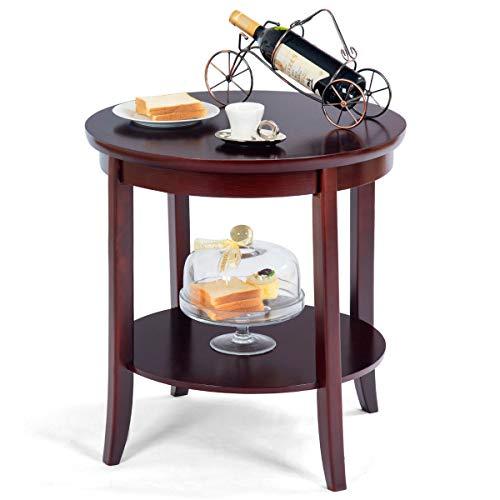 - Caraya Round Wood End Table Sofa Side Coffee Table Storage Shelf Cherry Finish