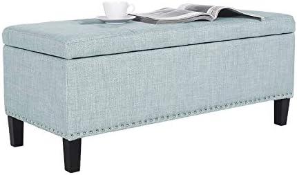 Decent Home Decent Home Storage Ottoman Bench Fabric Faux Linen Rectangular Button Tufted Footstool