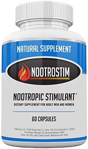 Nootrostim- Natural Stimulant to Speed Up Your Brain Study Pills, Energy Boost Supplement Best Alpha Brain Wave Smart Nootropics- 60 Capsules