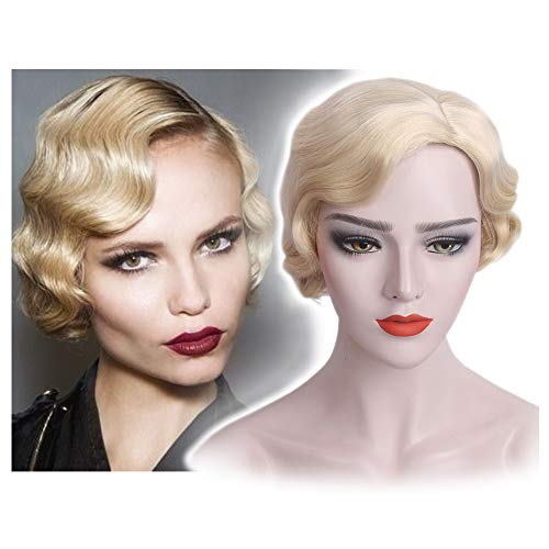 STfantasy Finger Wave Wig Blonde Bob Short Curly Synthetic Hair for Women 1920s Cosplay Party Costume]()