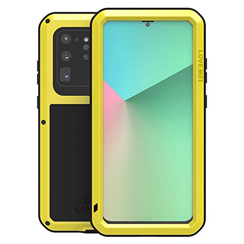 LOVE MEI for Samsung Galaxy S20 Ultra Case,Outdoor Sports Heavy Duty Waterproof Shockproof Dust/Dirt Proof Aluminum Metal+Silicone+Tempered Glass Case Cover for Samsung Galaxy S20 Ultra (Yellow)