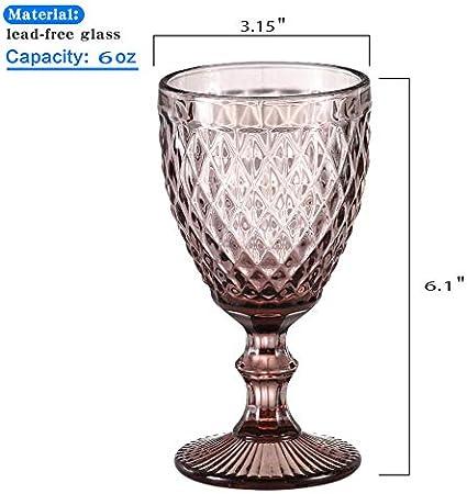 HUHUXIAOWU Copa de Vino, Copa de Vidrio de Color, 6 oz / 10 oz, diseño Vintage en Relieve, Tazas de Vidrio Transparente Alto para Fiesta, Boda, Diamante/púrpura / 6 oz