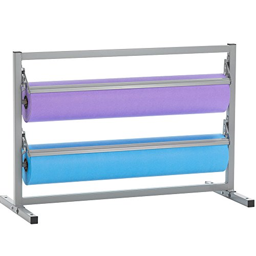 """Bulman T367R-48 48"""" Two Deck Tower Paper Rack with Straight Edge Blade"""