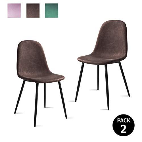 Mc Haus AFRA - Pack 2 Sillas Comedor estilo Vintage tapizadas en cuero sintetico Marron, Asiento Acolchado para Salon y Dormitorio con patas metalicas de color Negro 46x43x86cm