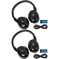 Pair of Two Channel Fold Flat Adjustable Universal Entertainment System Infrared Headphones 2 Additional 48 3.5mm Auxiliary Cords Wireless IR DVD Player Head Phones Car TV Video Audio Listening