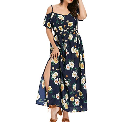 Organza Strapless Drop - Sunmoot Bardot Dress for Women,Floral Printed Loose Off Shoulder Strapless Strap Waist Split Long Cami Maxi Dresses Black