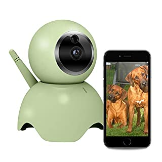Four Noses Dog Camera with 2 Way Audio, Pet Monitor, Motion Detection Alarm, Remote Camera for Cat/Dog, Pan/Tilt, Connect with iOS and Android. Free App.