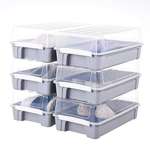 IMPR3·TREE Mall Stackable Shoe Organizer Shoes Box Closet Storage Solution Boots Bins Airtight Containers with Clear Lids 14 x 8 inches Set of 6, Nordic Gray