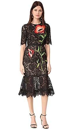 Lela Rose Women's Embroidered Dress, Black Multi, 2