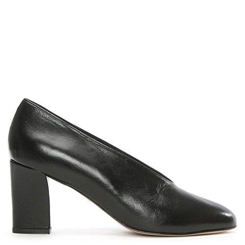 Daniel Aneso Black Leather V Front Court Shoe Black Leather EOaSsrPXSV