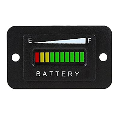 Cococart 48V LED Battery Indicator Meter Gauge Charge Discharge Testers for Lead-acid Battery Motorcycle Golf Cart Car Yamaha UTV ATV Scooter Marine Boat Jet Ski