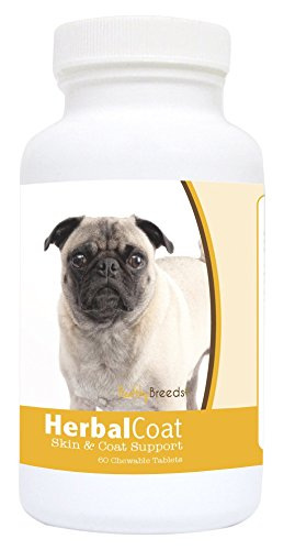 Healthy Breeds Dog Herbal Skin And Coat Support Chewable Supplement For Pug – Over 80 Breeds – All Natural Ingredients – Helps Shedding – 60 Treat Chews For Sale