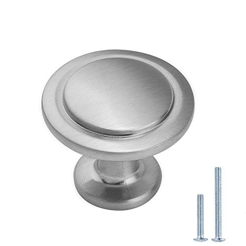 Lizavo Brushed Satin Nickel Kitchen Cabinet Knobs Modern Round Pulls Hardware for Drawer Dresser- 1-1/4 inch Diameter, 25 Pack