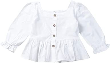 URMAGIC Blusa para niñas, Niñas Niños Color sólido Blanco Manga Larga Camisas Modernas Tops Niñas Camisetas de Manga Larga Conjuntos de otoño: Amazon.es: Ropa y accesorios