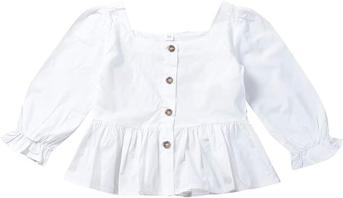 Hongyuangl Blusa Blanca con Botones Niños Niña Camisetas de Manga Larga Primavera Verano por 1-6 años: Amazon.es: Ropa y accesorios
