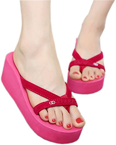 Bettyhome Mujeres Niñas Sexy Verano Vendaje Correas Cómodas Sandalias Casuales Sandalias Playa Chanclas Zapatillas Rojo