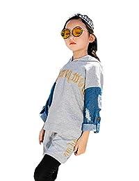 Buy-Box Girls Sweater Pants Suit Denim Sleeve Sweater Two-Piece Sports Wear
