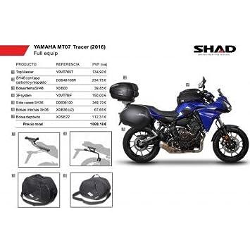 SHAD - KIT-SHAD-8/214 : Maletas laterales, baul, soportes, bolsas kit full YAMAHA MT-07 TRACER: 2016-2016 -: Amazon.es: Coche y moto