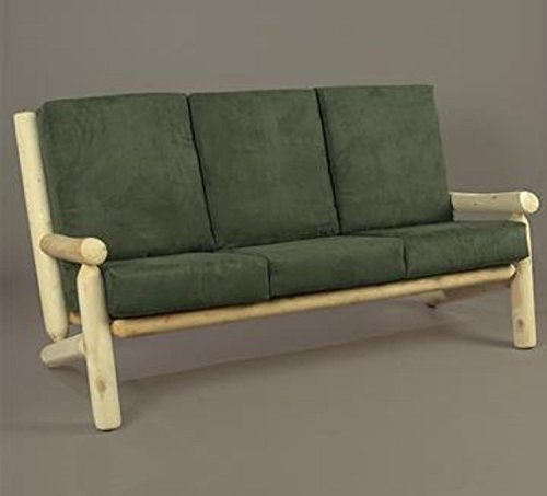 66″ Natural Northern Cedar Indoor Sofa Couch with Green Cushions