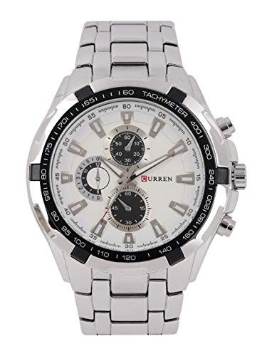 CURREN Analog White Dial Men #39;s Watch CUR024