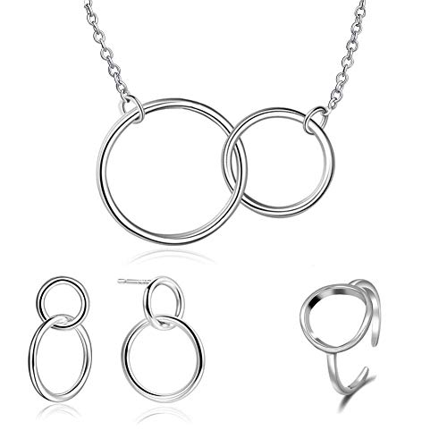 (ISAACSONG.DESIGN Sterling Silver Two Interlocking Eternity Round Circle Pendant Necklace, Earring and Ring Minimalist Jewelry Set for Women (Circle Friendship Jewelry Set))