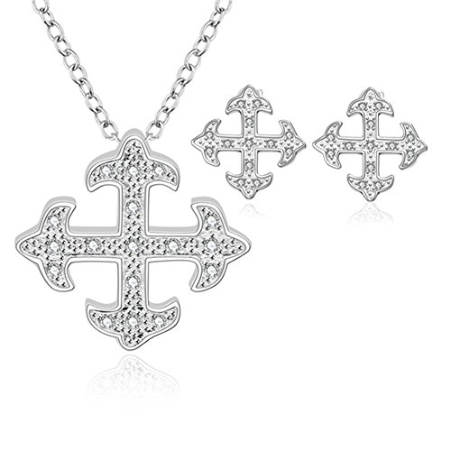 Jewelry Set Cross Arrow Necklace Stud Earrings Inlaid Cubic Zircon for Womens