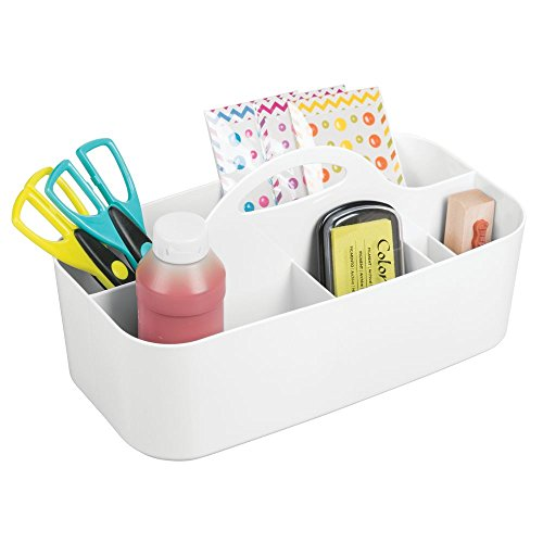 mDesign Craft Storage Organizer Caddy Tote, Portable Divided Basket Bin with Integrated Handle - BPA Free, 6 Sections for Holding Paint, Paint Brushes, Colored Pencils, Yarn - White by mDesign