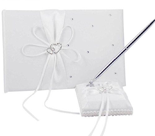 (2Pcs/Set White/Ivory/Burlap Wedding Guest Book + Pen Set (White))