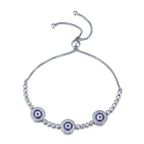 Zircon Eyes (Genuine 925 Sterling Silver Luxury Round Blue Eyes Clear Cubic Zircon Crystal Tennis Bracelet Jewelry (evil eye bracelet))