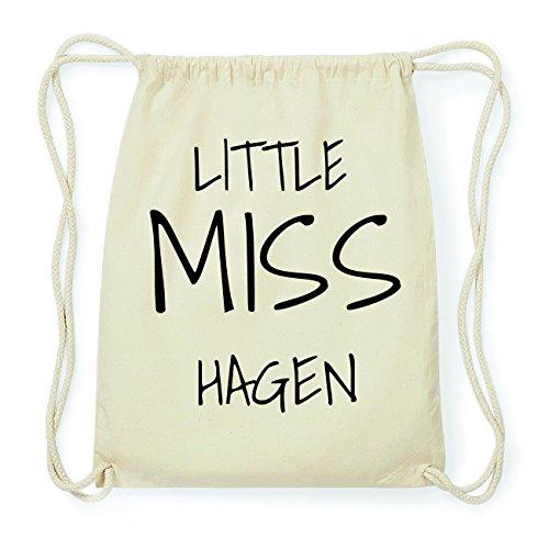 JOllify HAGEN Hipster Turnbeutel Tasche Rucksack aus Baumwolle - Farbe: natur Design: Little Miss jOfArzM