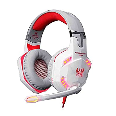 eTopxizu EACH G2000 Comfortable LED 3.5mm Stereo Gaming LED Lighting Over-Ear Noise Cancelling Headphone Headset Headband with Mic for PC Computer Game