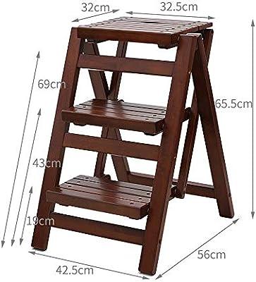 Escalera de mano Taburete plegable Taburete Silla de bar de madera maciza Taburetes altos y bajos Cambio de zapatos Taburete Escaleras Taburete Escalera plegable for el hogar Mini gruesa Escalera anti: Amazon.es: