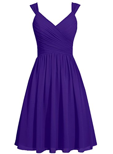 (Ice Beauty Straps Bowknot Chiffon Short Bridesmaid Dresses Prom Party Gowns Regency US 20W)