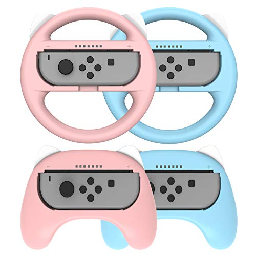 Joycon Grips for Nintendo Switch and Steering Wheel Controller for Joycon, Comfort Wireless Hand Grips Controllers for…