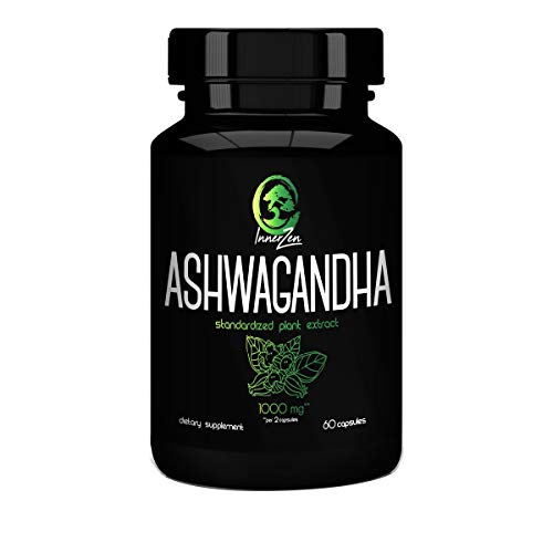 Inner Zen Ashwagandha Root Extract 1000mg 60 Capsules, Reduce Stress, Lower Anxiety, Balance Immune System, Adrenal Support, Lower Cortisol, Includes Black Pepper Extract for Increased Absorption