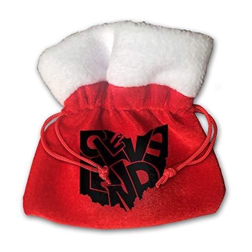 CYINO Personalized Santa Sack,Cleveland Ohio Bumper Sticker Portable Christmas Drawstring Gift Bag -