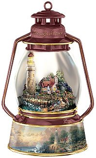 Thomas Kinkade Light Of Peace Collectible Lighthouse Music Box by The Bradford Exchange