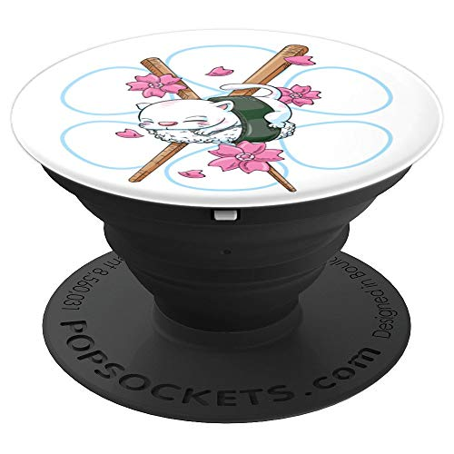 Japanese Cherry Blossom and Sushi Cat - PopSockets Grip and Stand for Phones and Tablets
