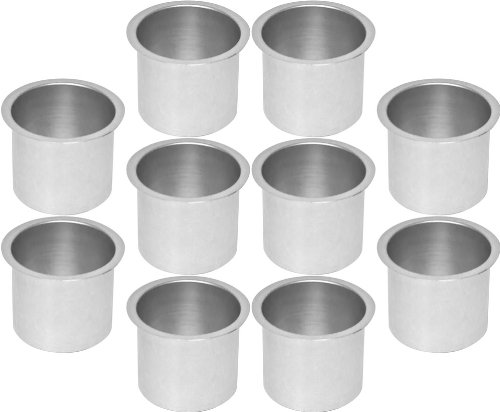 Cup Holders - 10 Aluminum Jumbo Silver Poker Table Drink Cup Holders by CCS