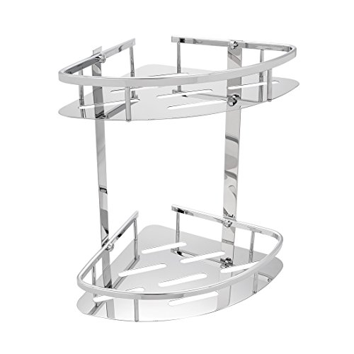 uxcell 304 Stainless Steel 11.2-inch Two-Tier Triangle Bathroom Shower Corner Basket Chrome ()