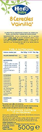 Hero Baby Papilla 8 Cereales Vainilla - 500 gr: Amazon.es: Alimentación y bebidas