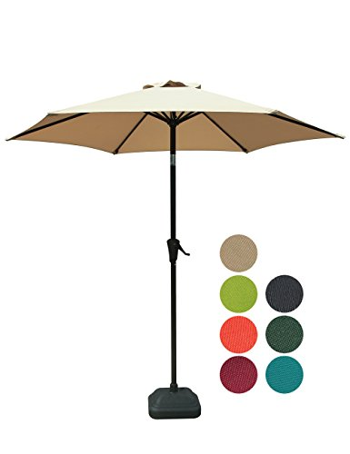 Beige 6 Ribs Polyester Canopy Patiorama 7.5 Feet Outdoor Patio Umbrella with Push-Button Tilt and Crank