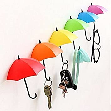 Gaobei 3 Pcs Cute Colorful Plastic Small Umbrella Shape Wall Mounted Hanger Key  Holder For Keys