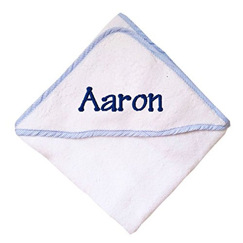 Hooded Embroidered Towel - Fastasticdeal Custom Embroidered Personalized Cotton White w/Blue Bath Baby Hooded Towel