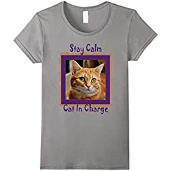 Womens Stay Calm Cat in Charge Red Orange Ginger Tabby T Shirt B49 Medium Slate